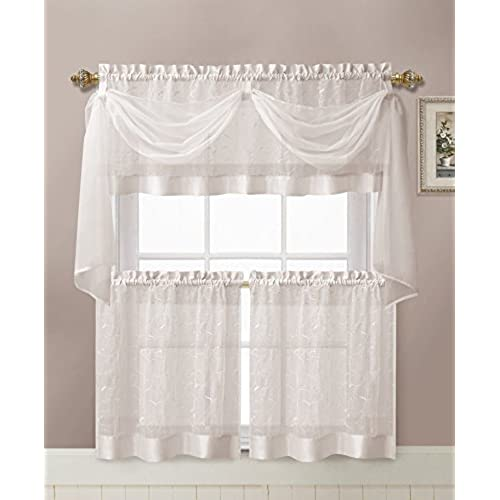 Nice GoodGram Linen Leaf Embroidered Sheer Kitchen Curtain Set   Assorted Colors  (White)