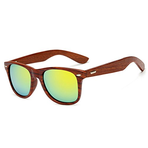 LongKeeper Wood Sunglasses for Men Women Vintage Real Wooden Arms Glasses (Brown, - Sunglasses Gold And Wood