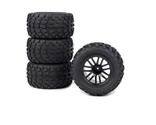 4pk Wheels for Stampede VXL Blacked Out Rim withTires Rustler 1/10 12mm Set of 4 ()