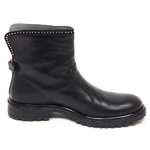 E2452 Stivaletto Biker Boot Shoe Bimba Momino Kid Girl Scarpe Nero ZxdIqww6