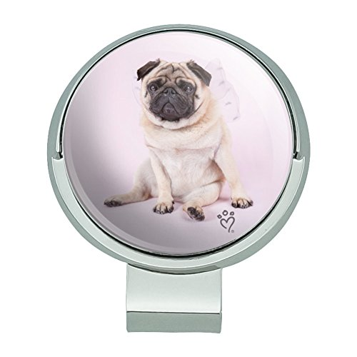 GRAPHICS & MORE Pug Puppy Dog with Angel Wings Pink Golf Hat Clip with Magnetic Ball Marker (Hat Pink Angels)