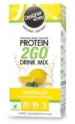 Designer Whey Protein 2Go Drink Mix, Lemonade, 0,56 Oz, 5 paquets (Pack de 2)