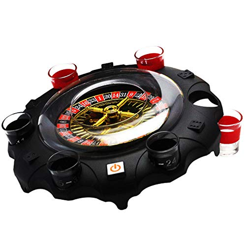 SODIAL Electric Russian Lucky Round Wine Set Drinking Game Ktv Bar Nightclub Props, Lucky Turntable Roulette Wine Turntable Turn Music Drinking Game