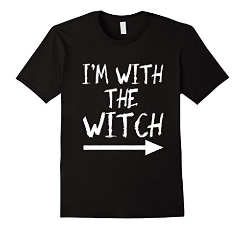 Mens I'm With The Wicth tshirt Halloween Couples Costume funny Large Black