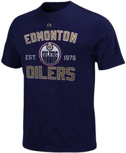 Edmonton Oilers NHL Licensed Majestic Navy Name & Logo Arc T Shirt Big Sizes (5XL) Logo Arc