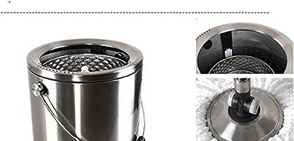 BJM fácil Wring y limpiar microfibra fregona limpia y Away polvo mopa con mopa de Spinning de 360 ° Cubo 2 cabezales de fregona Free, Plateado, 30*30*29cm: Amazon.es: Hogar