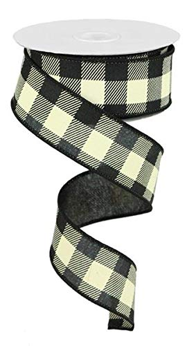 (Plaid Check Wired Edge Ribbon - 10 Yards (Black, Ivory, 1.5