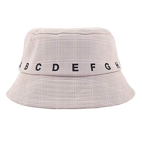 - Landscap Summer Hat Children Plaid Bucket Reversible Sun Hat Foldable Wide Cap for 2-4 Years Beige