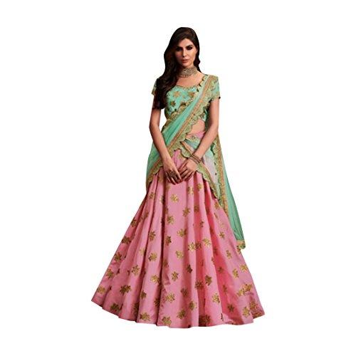 Pink Silk Wedding Stylish Blouse Work Lehenga Chaniya Choli Party Net Dupatta Muslim Women Festival 7363