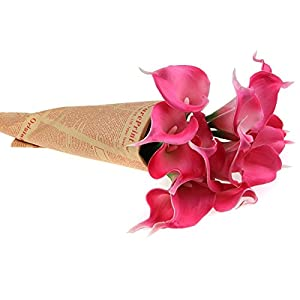 Ewandastore Artificial Calla Lily Bridal Wedding Bouquet 10 head Latex Real Touch Flower Bouquets Hot Pink 5