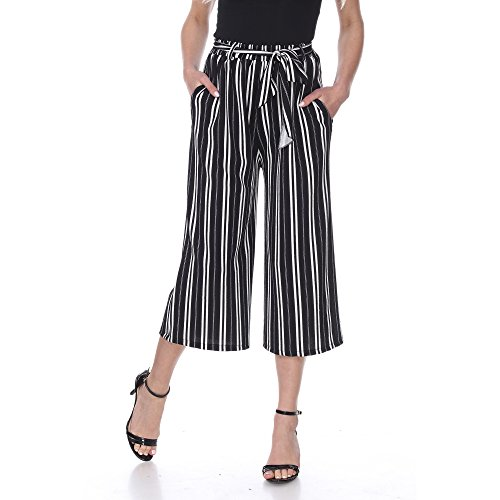 Gaucho Pants (carpi Wide Leg) with Pockets, Soft Pleats, Waist tie Belt in Black and White Horizontal Stripes Pattern Medium (Pants Gaucho Belted)