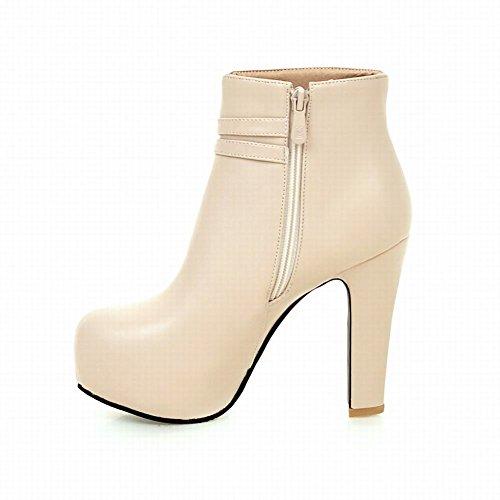 Carolbar Womens Bows Zip Elegance Date Platform High Heel Dress Boots Beige A0TnF