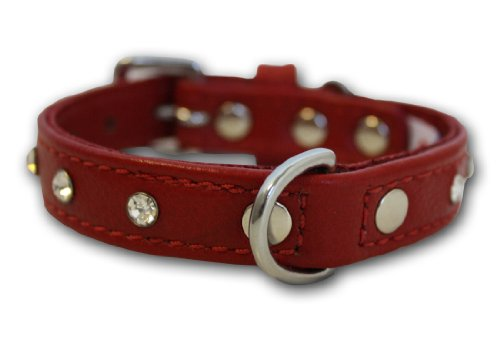 Rhinestones Bling Leather Dog Collar (Athens), 12″ X 5/8″, Valentine Red, My Pet Supplies