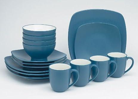 Amazon.com | Noritake Colorwave Blue - 16 piece QUAD set, service ...