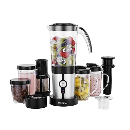 VonShef 4 In 1 Multifunctional 1.5L Blender, 1L Smoothie Maker, Juicer,  Grinder U0026 Cups Silver