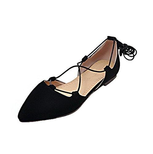 AgooLar Femme Fermeture d'orteil à Talon Bas Suédé Lacet Chaussures Légeres Noir s4BtKszpek