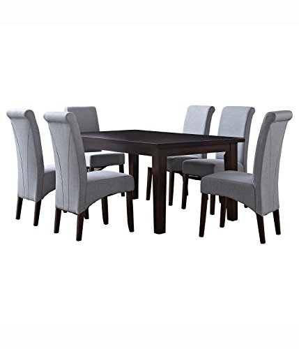 Simpli Home Avalon 7 Piece Dining Set, Dove Grey