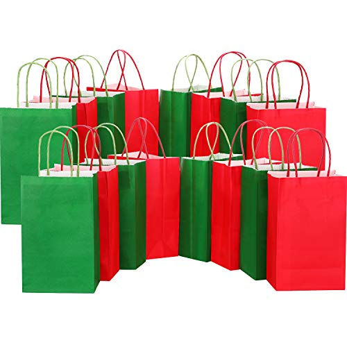Pangda 24 Pieces Christmas Paper Bags Paper Party Candy Bags Paper Gift Bags Kraft Handle Bags for Christmas Birthday Party Present, Green, Red
