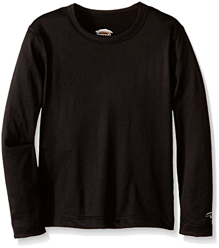 Duofold Crew Long Underwear - Duofold Boys Mid Weight Varitherm Thermal Shirt Shirt, Black, Small