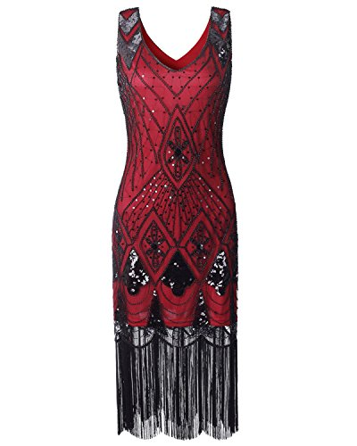 Women Flapper Dress 1920s Vintage - Double V Neck Gatsby Dress Fringed Art Decor Fancy Dress for Prom 20s Parties