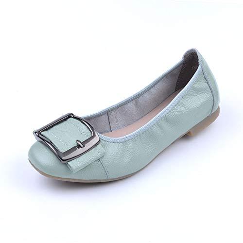 and shoes leather flat comfortable fashion shoes soft shoes autumn retro work shoes sole C ladies FLYRCX ballet Spring 1A5Rwxqfn