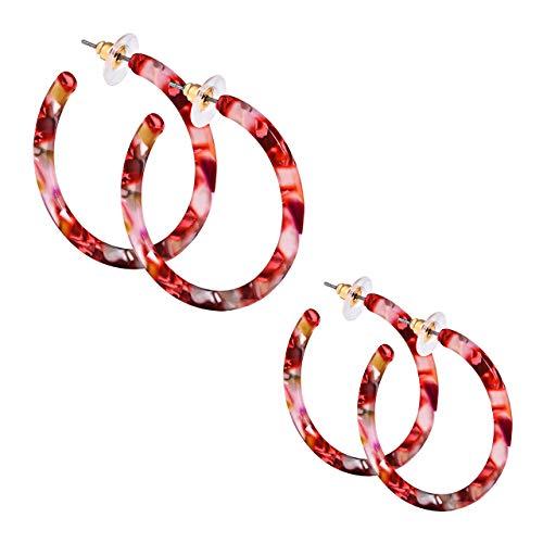 PHALIN JEWELRY Acrylic Round Earrings Resin Circle Hoop Earrings for Girls and Ladies (3# - E 2PCS Red Flower Medium)