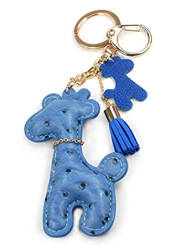 (Faux PU Leather Bear Cat Giraffe Dog Keychain Textile Tassel Handbag Key Charm Ring Pendant Chain (Giraffe Blue))