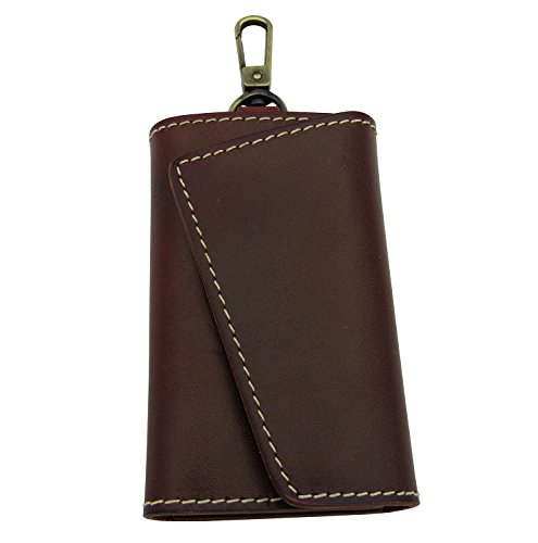 BESYL Maroon Genuine Leather Car Key Case ID Card Holder Wallet with 6 Hooks Keychain Keyring for Men & Women - Maroon Leather Ring