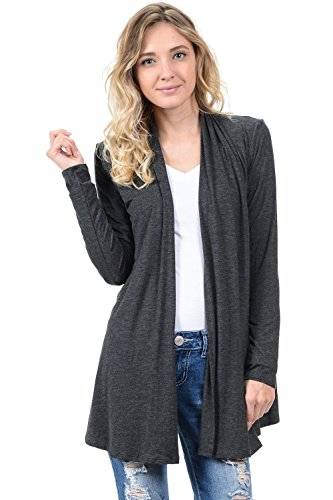 Front Jersey Cardigan (Pastel by Vivienne Women's Long Sleeve Jersey Cardigan Medium Charcoal)