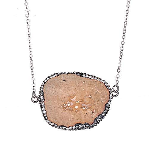 - Unique Raw Irregular Agates Quartz Pendant Pave Cubic Zircon Natural Chain Necklace for Women Chakra,Champagne,45cm
