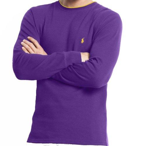 (Polo Ralph Lauren Men's Waffle Knit Crew Neck Shirt (3XL, Purple))