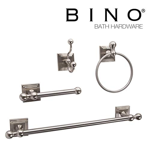 BINO Franklin 4-Piece Bathroom Hardware Set with 18-Inch Towel Bar, Brushed Nickel - Bathroom Accessories Set - Bathroom Towel Bar Set Towel Rack Set