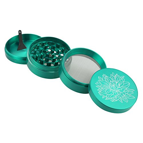 DCOU New Design Premium Zinc Alloy Herb Tobacco Grinder 2.2 Inches 4 Piece Metal Grinder with Pollen Catcher with Laser Flower Pattern Green by DCOU (Image #4)