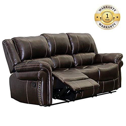 - Windaze Double Recliner Sofa Classic 3 Seats Bonded Leather Reclining Couch for Living Room, Brown