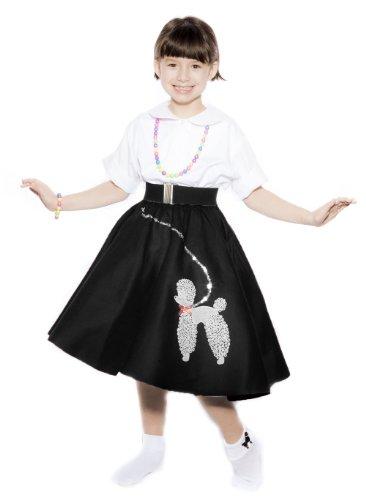 [Hey Viv ! Child Size 50s Black Felt Poodle Skirt & Crinoline Slip Combo Sock Hop Set] (1940s Dance Costumes)