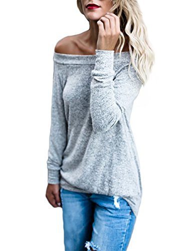 VintageRose Women's Long Sleeve Off Shoulder Loose Blouse Tops