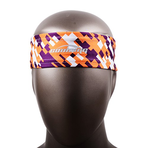 COOLOMG Sports Digital Camo Headbands Printing Moisture Wicking Stretchy Non-slip Fitness For Yoga Running Teens Men Women Yellow Purple