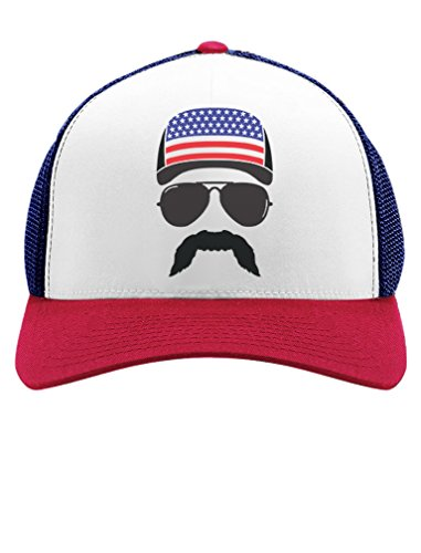 [American Flag Cap hat - Cool 4th of July Merica USA Trucker Hat Mesh Cap One Size Blue/White/Red] (Hats 4 U)