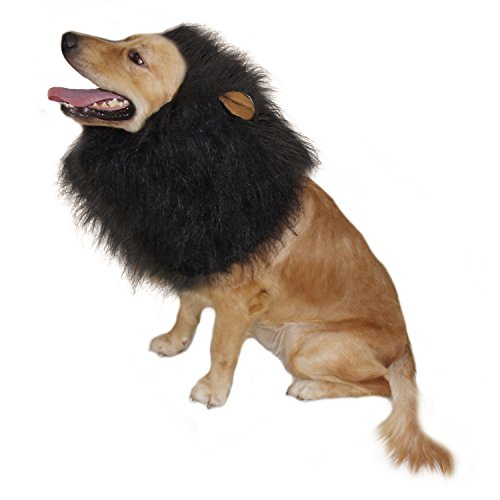 CPPSLEE Halloween Lion Mane Wig Costume - Make Your Dog Lion King - Adjustable Washable Comfortable Fancy Lion Hair Dog Clothes Dress for Halloween (G-Black With Ear)