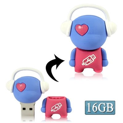 CAOMING Music Man Cartoon USB Flash Disk, Special (16GB) (Blue) by CAOMING