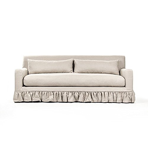 Benedict French Country Natural Linen Limed Grey Oak Sofa