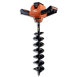 SuperHandy Electric Auger Cordless Power Head Heavy Duty Eco-Friendly w/Steel 6″x30″ Earth Auger Lithium Ion Battery & Charger for Earth Burrowing/Drilling & Post Hole Digging (Earth Auger 6″ Set)