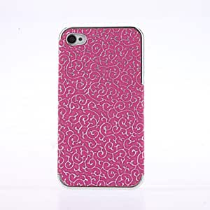 Rose-Carmine deluxe palace embossed leather case for iPhone 4/4S --- COLOR:Rose