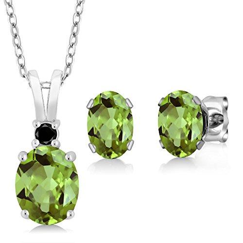 Gem Stone King 3.00 Ct Oval Green Peridot 925 Sterling Silver Pendant Earrings Set