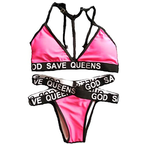Letter God Save Queens Swimsuit Brazilian Bikinis Set Biquini High Waist Bandage Swimwear Women Bathing Suit Black Pink Sexy Rose S