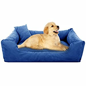 Pet Royale Reversable Velvet Bed for Small Dogs with Extra Detachable Cotton Seat Cover (Blue)
