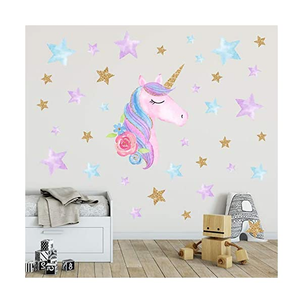 AIYANG Unicorn Wall Stickers Rainbow Colors Wall Decals Reflective Wall Stickers for Girls Bedroom Playroom Decoration (Stars,Left) 10