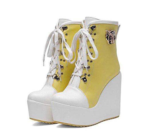 LvYuan Botas del tobillo de las mujeres / charol / oficina y carrera / talón alto de la cuña / Comfort / Lace-up Oxfords / cargadores de Martin / zapatos planos al aire libre del flatform Yellow
