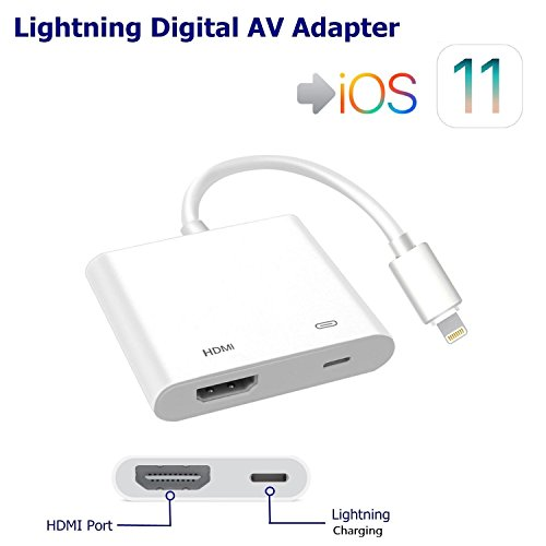 iPhone iPad to HDMI Adapter, Lightning 8-pin to HDMI Female Video Digital AV Adapter with Lightning Charging Port for HD TV Monitor Projector 1080P