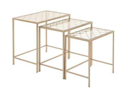 - Deco 79 65372 Metallic Gold Metal & Glass Nesting Accent Tables, Quatrefoil Grid Pattern | Set of 3